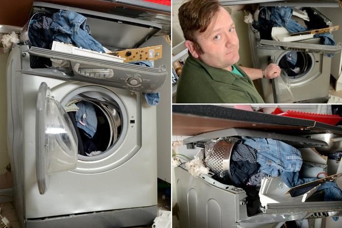cucina distrutta da lavatrice