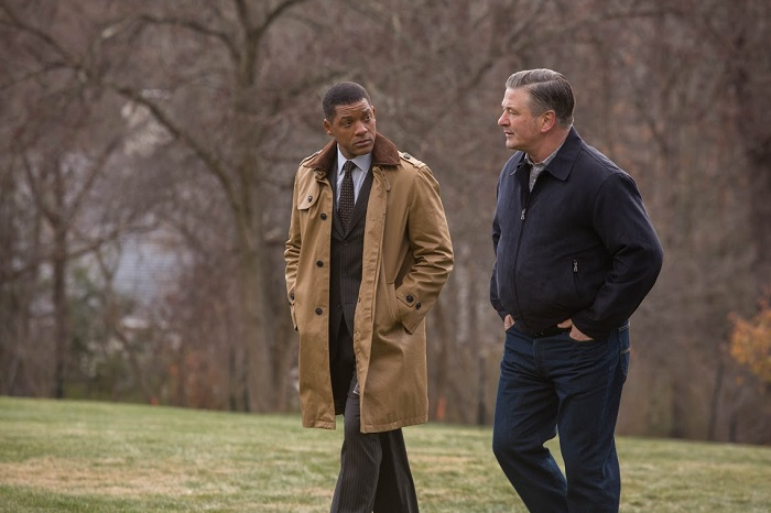 "Will Smith, left, and Alec Baldwin star in Columbia Pictures' ""Concussion."""