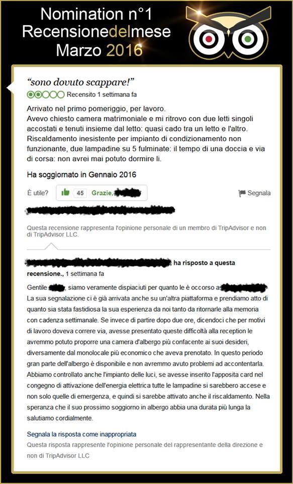 """Una recensione segnalata sulla Pagina Facebook """"Insultare su Tripadvisor sentendosi grandi chef"""""""