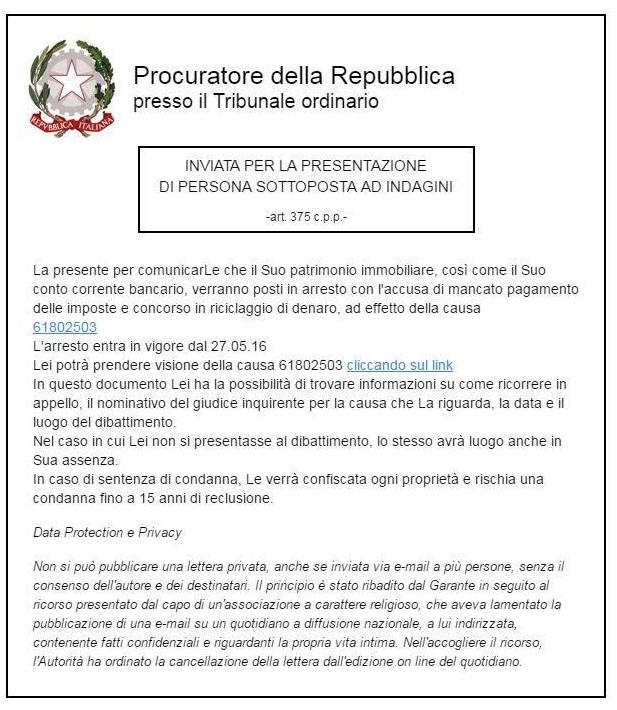 Phishing Procura Repubblica