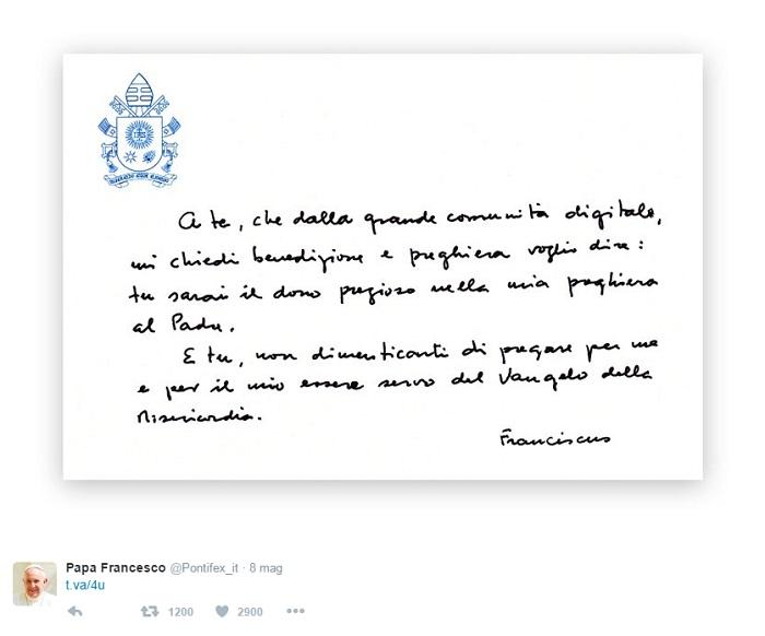 papa francesco messaggio