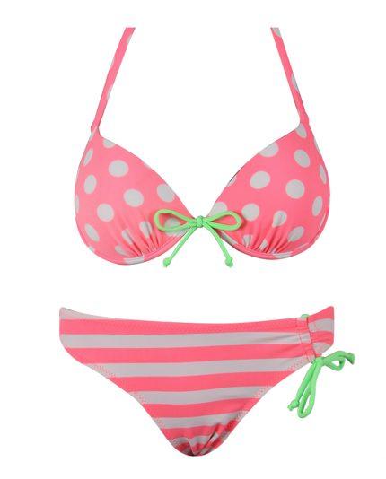 Bikini pois e righe con reggiseno a balconcino disponibile in diverse varianti colore