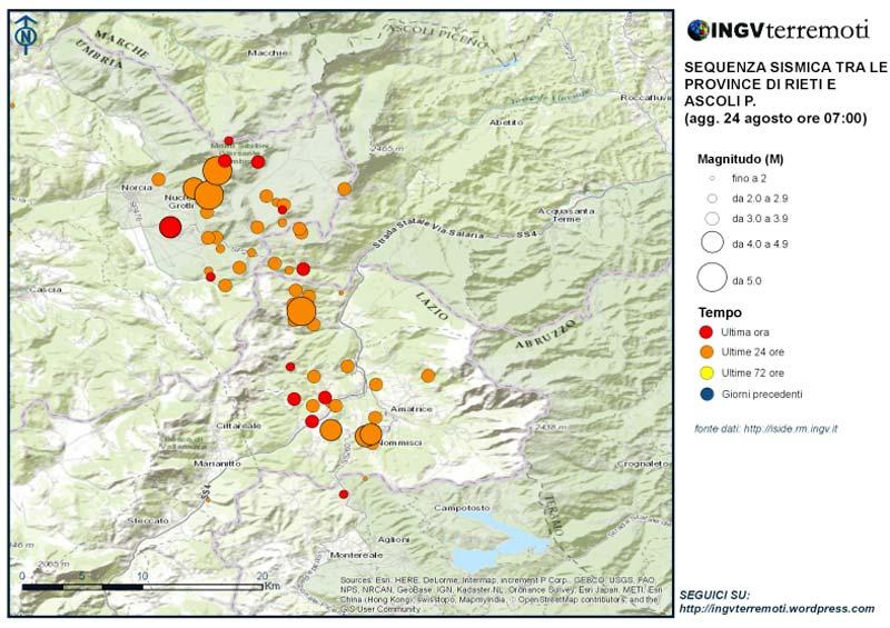 terremoto magnitudo 6 in Centro Italia