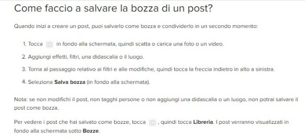 salva bozza su instagram