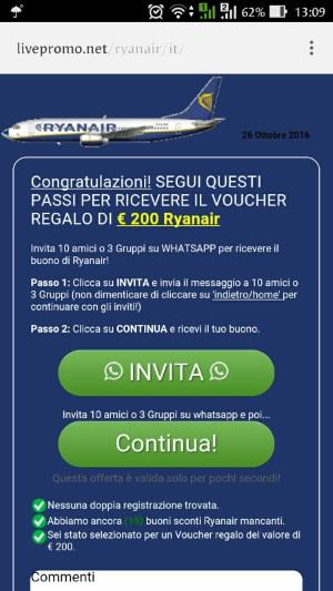 truffa dei biglietti gratis RyanAir su Whatsapp