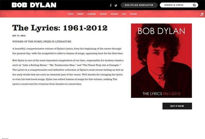 Bob Dylan: suo sito web ammette il Premio Nobel