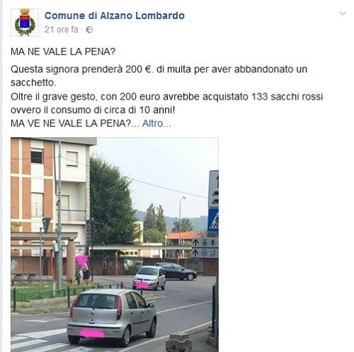 Facebook gogna mediatica Alzano Lombardo