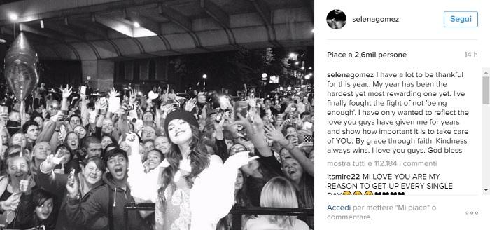 selena gomez torna su instagram