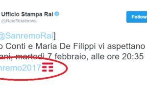 Twitter vende l'hashtag Sanremo2017 a Tim. Polemiche sul logo della compagnia telefonica
