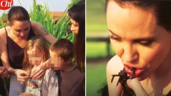 Angelina Jolie mangia grilli e tarantole