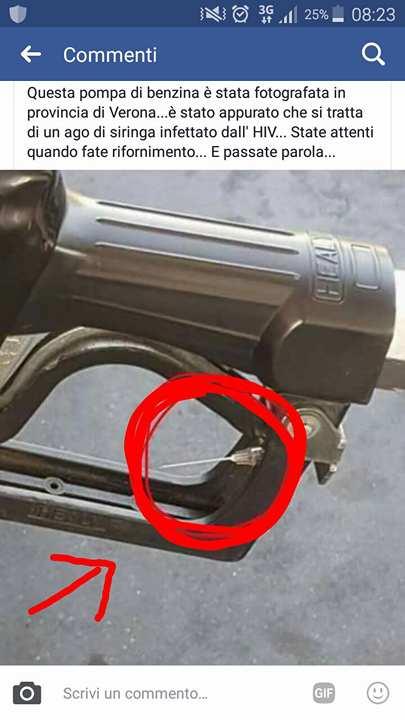bufala della siringa infetta di HIV nella pompa di benzina