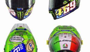 Rossi presenta il nuovo casco: Totti e Hayden per affrontare il Mugello