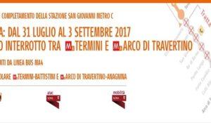 Metro A, dal 31 luglio al 3 settembre servizio interrotto tra Termini e Arco di Travertino