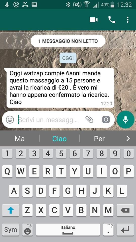 bufala di whatsapp