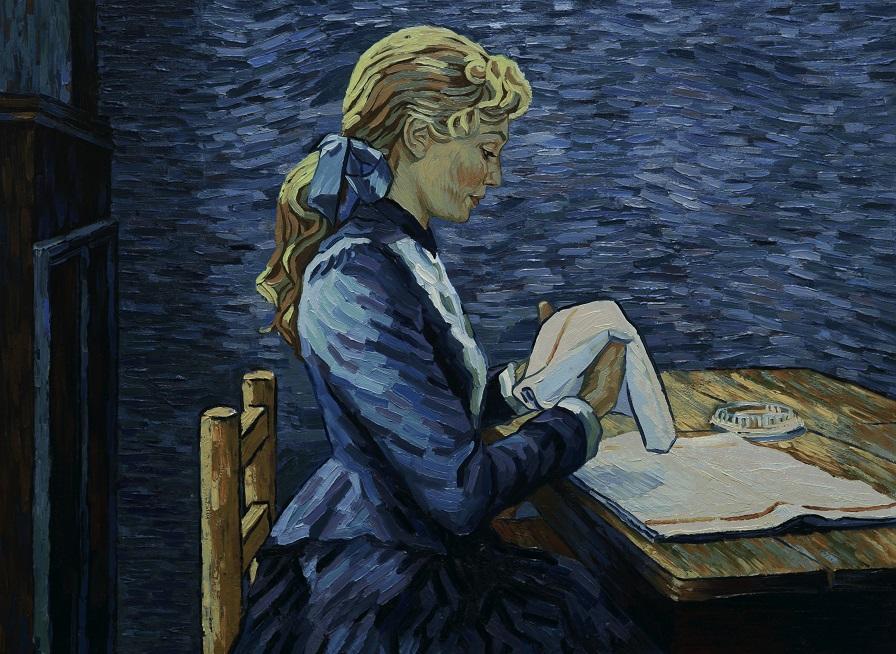 Adeline Ravoux (Eleanor Tomlinson) folding napkins at the Ravoux Inn