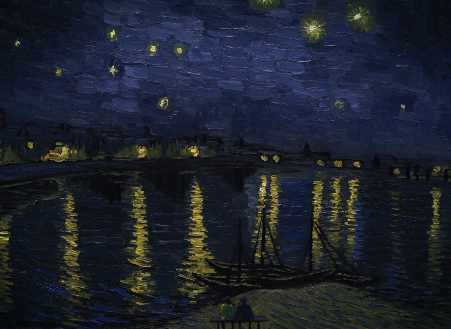 Landscape Starry Night over the Rhone