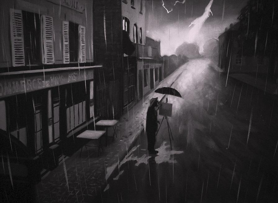Vincent (Robert Gulaczyk) painting in the rain