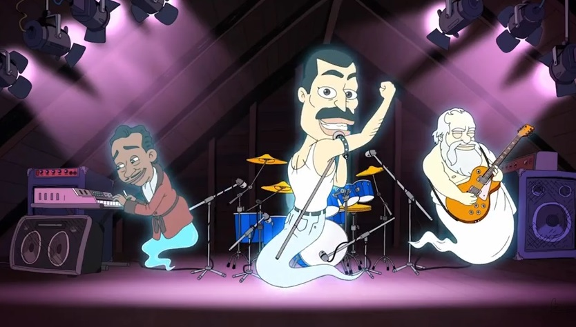 Freddie mercury cartone animato in big mouth video