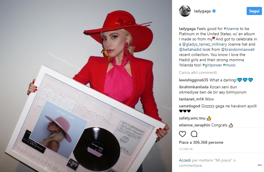 Joanne di Lady Gaga è disco di platino