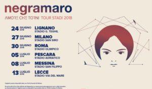 """""""Amore che Torni Tour Stadi 2018"""", annunciate le date live dei Negramaro"""