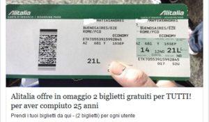 Biglietti gratis Alitalia: la nuova truffa corre su Facebook