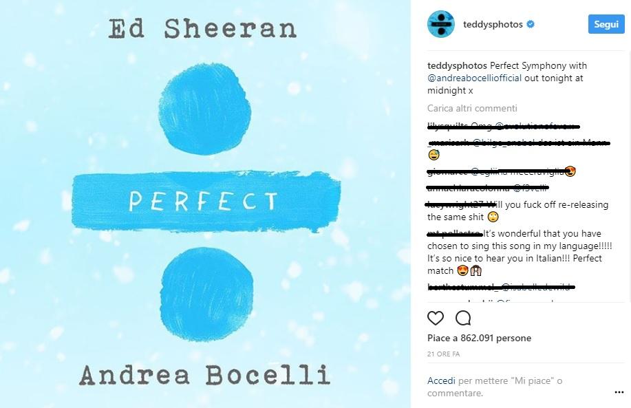 duetto di Ed Sheeran con Andrea Bocelli