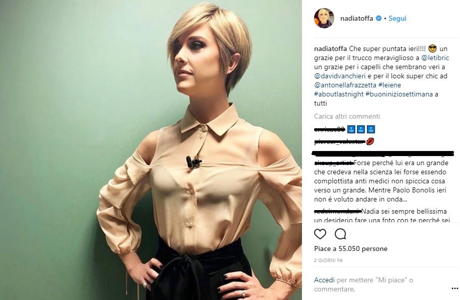 nadia toffa attaccata su instagram