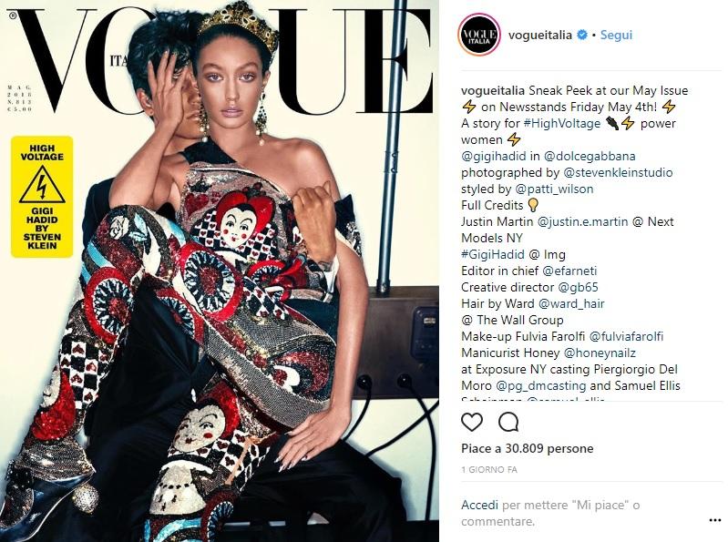 cover di Vogue Italia di Gigi Hadid