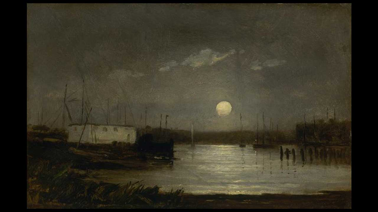 Edward Mitchell Bannister - Moon over a harbor