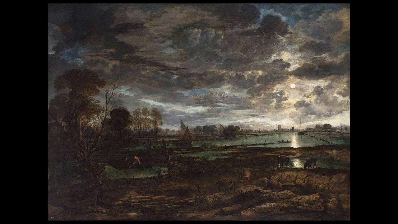 Art van der Neer - Paesaggio notturno con luna piena