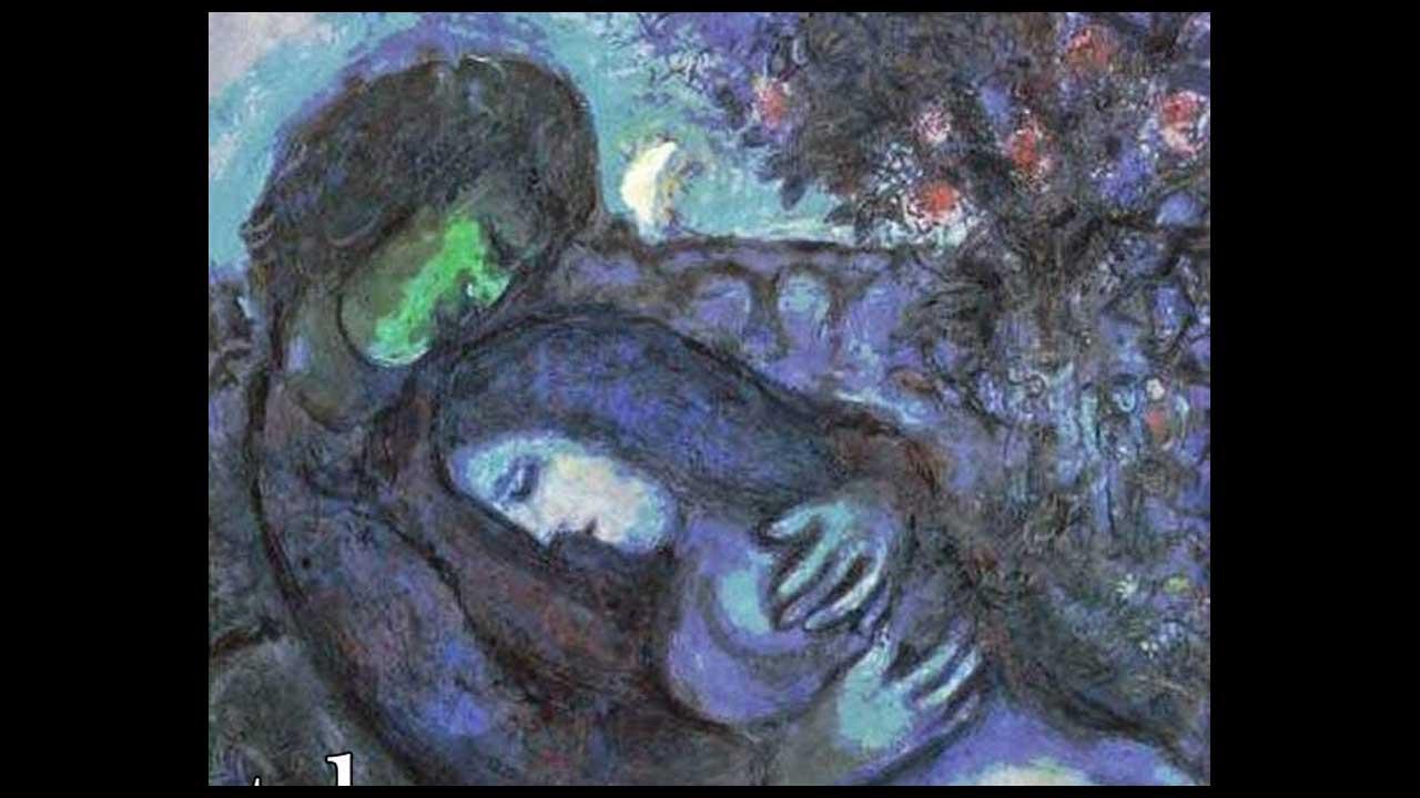 Marc Chagall - Innamorati sotto la mezza luna