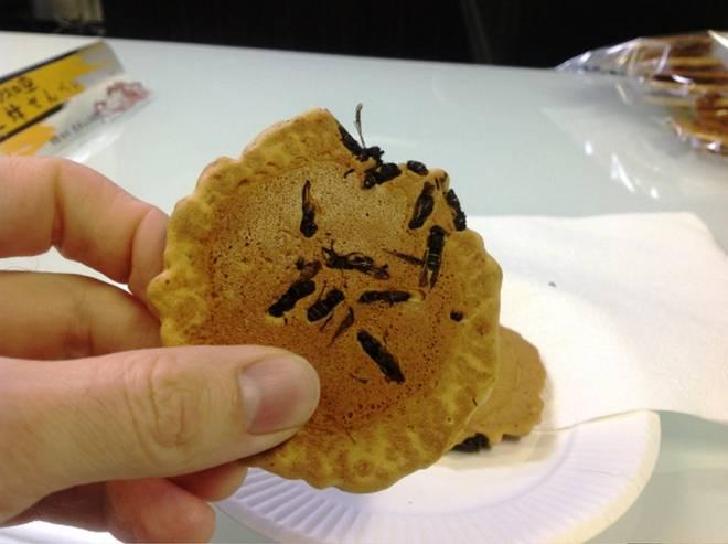 """Una delle più strane pietanze giapponesi è il Jibachi Senbei, ovvero crekers di riso alle vespe. Piatto tipico della città di Omachi, questa prelibatezza è creata bollendo le vespe """"Digger"""" in acqua, essiccandole e miscelandole con il cracker, che viene poi stampato dal ferro caldo a forma di biscotto."""