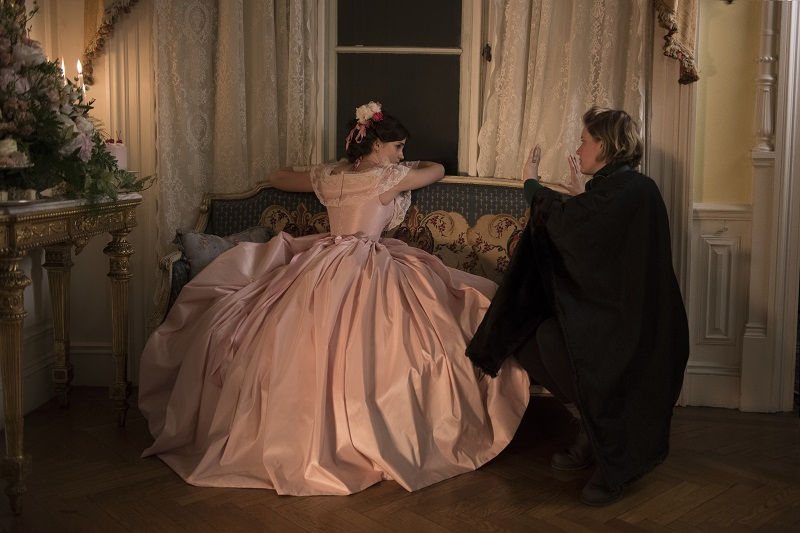 BTS: Emma Watson and Director/Writer Greta Gerwig on the set of Columbia Pictures' LITTLE WOMEN.""