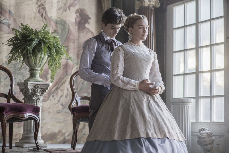 TimothŽe Chalamet and Florence Pugh in Columbia PicturesÕ LITTLE WOMEN.