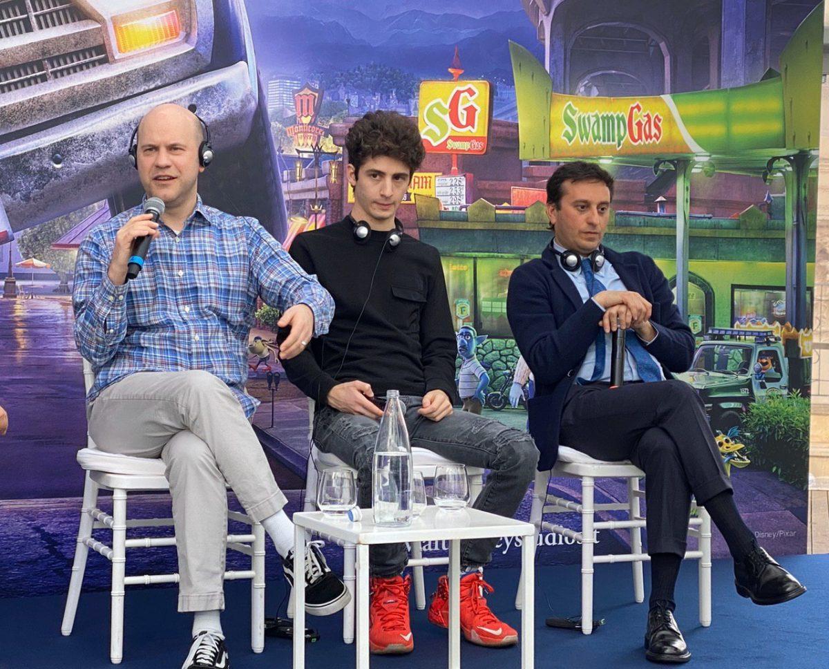 (da sinistra) il regista Dan Scanlon, Favij e David Parenzo