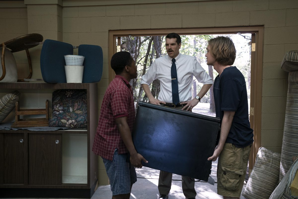 """Looking For Alaska - """"Famous Last Words"""" - Episode 101 -- Miles Halter, seeking a more than minor life, enrolls at Culver Creek Academy.  On his first day, he gets a new nickname, a best friend, some enemies and makes a deal with Alaska Young that will change his life forever. The Colonel (Denny Love), The Eagle (Timothy Simons), and Miles (Charlie Plummer), shown. (Photo by: Alfonso Bresciani/Hulu)"""