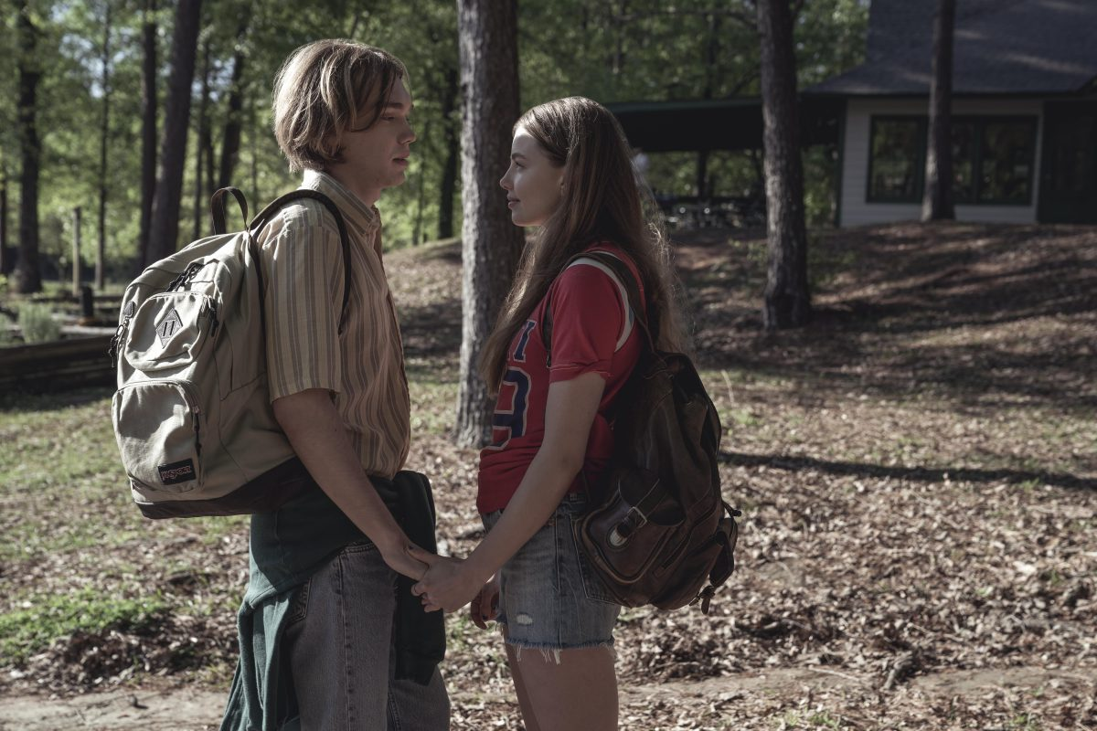 "Looking For Alaska - ""Famous Last Words"" - Episode 101 – Miles Halter, seeking a more than minor life, enrolls at Culver Creek Academy.  On his first day, he gets a new nickname, a best friend, some enemies and makes a deal with Alaska Young that will change his life forever. Miles (Charlie Plummer) and Alaska (Kristine Froseth), shown. (Photo by: Alfonso Bresciani)"