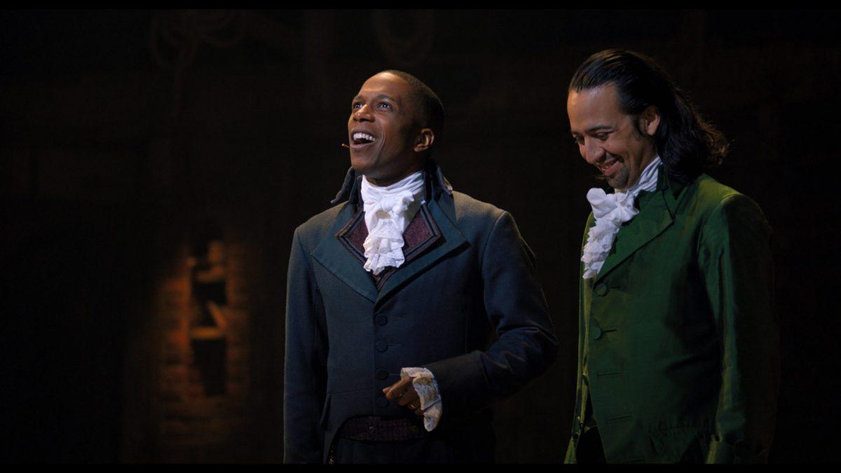 Lin-Manuel Miranda is Alexander Hamilton and Leslie Odom, Jr. is Aaron Burr in HAMILTON, the filmed version of the original Broadway production.