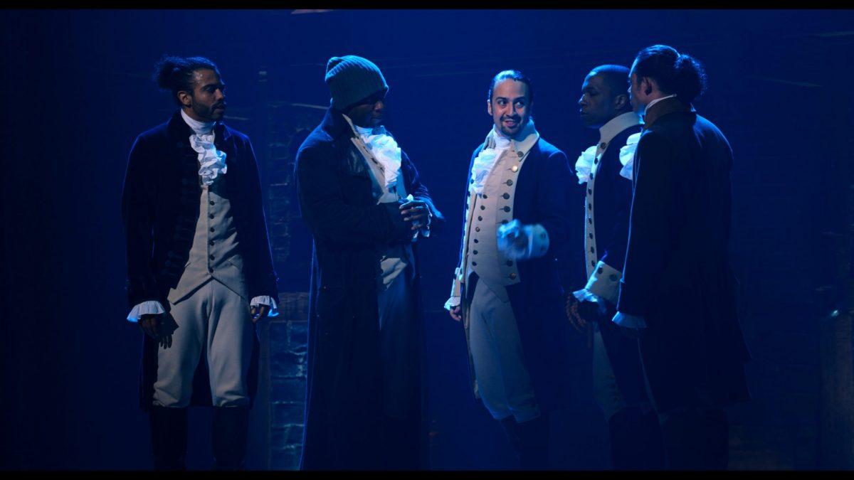 Daveed Diggs is the Marquis de Lafayette, Okieriete Onaodowan is Hercules Mulligan, Lin-Manuel Miranda is Alexander Hamilton, Leslie Odom, Jr. is Aaron Burr and Anthony Ramos is John Laurens in HAMILTON, the filmed version of the original Broadway production