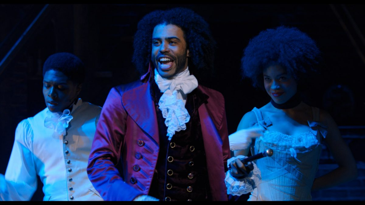 Daveed Diggs is Thomas Jefferson in HAMILTON, the filmed version of the original Broadway production.