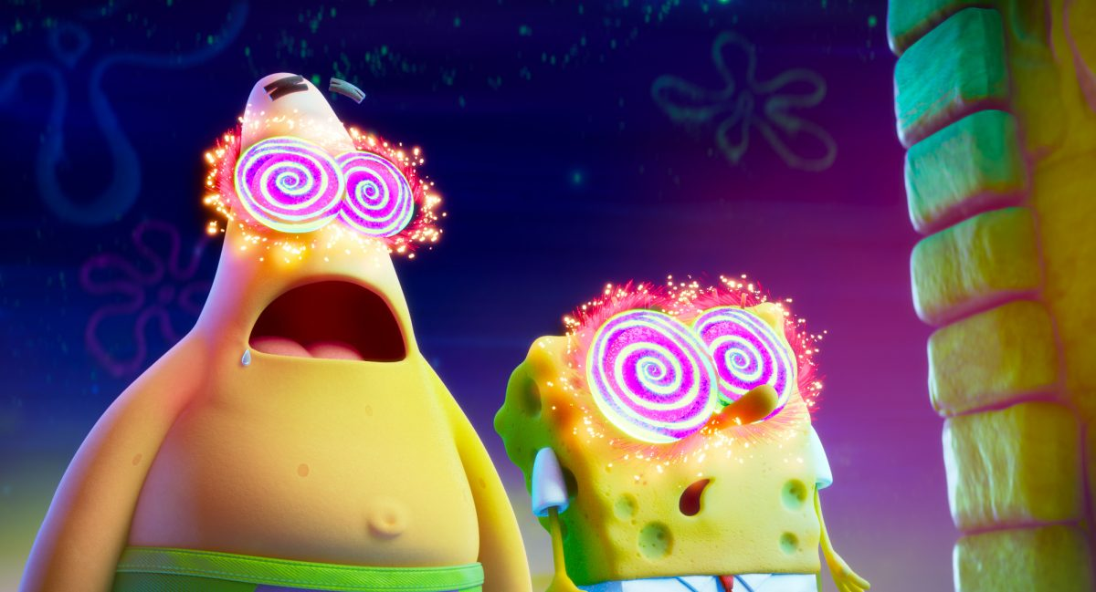 Patrick (voiced by Bill Fagerbakke) and SpongeBob (voiced by Tom Kenny) in THE SPONGEBOB MOVIE: SPONGE ON THE RUN from Paramount Animation and Nickelodeon Movies. Photo Credit: Paramount Animation.