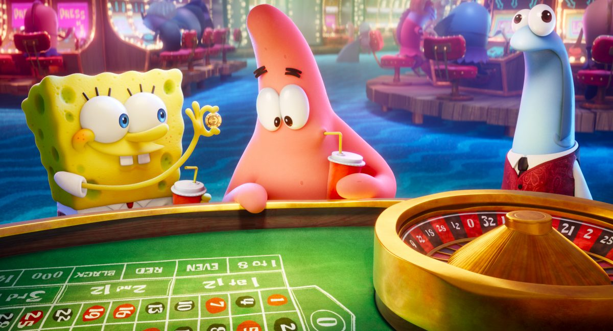 SpongeBob (voiced by Tom Kenny) and Patrick (voiced by Bill Fagerbakke) in THE SPONGEBOB MOVIE: SPONGE ON THE RUN from Paramount Animation and Nickelodeon Movies. Photo Credit: Paramount Animation.