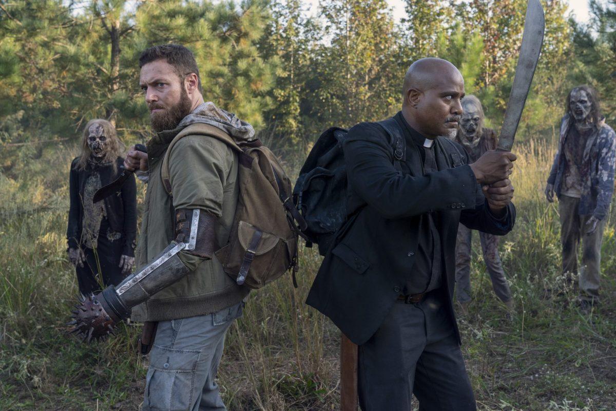 Seth Gilliam as Gabriel, Ross Marquand as Aaron; group - The Walking Dead _ Season 10, Episode 19 - Photo Credit: Josh Stringer/AMC