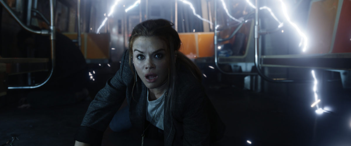 Rachel (Holland Roden) in an electrified subway train in Columbia Pictures' ESCAPE ROOM: TOURNAMENT OF CHAMPIONS.
