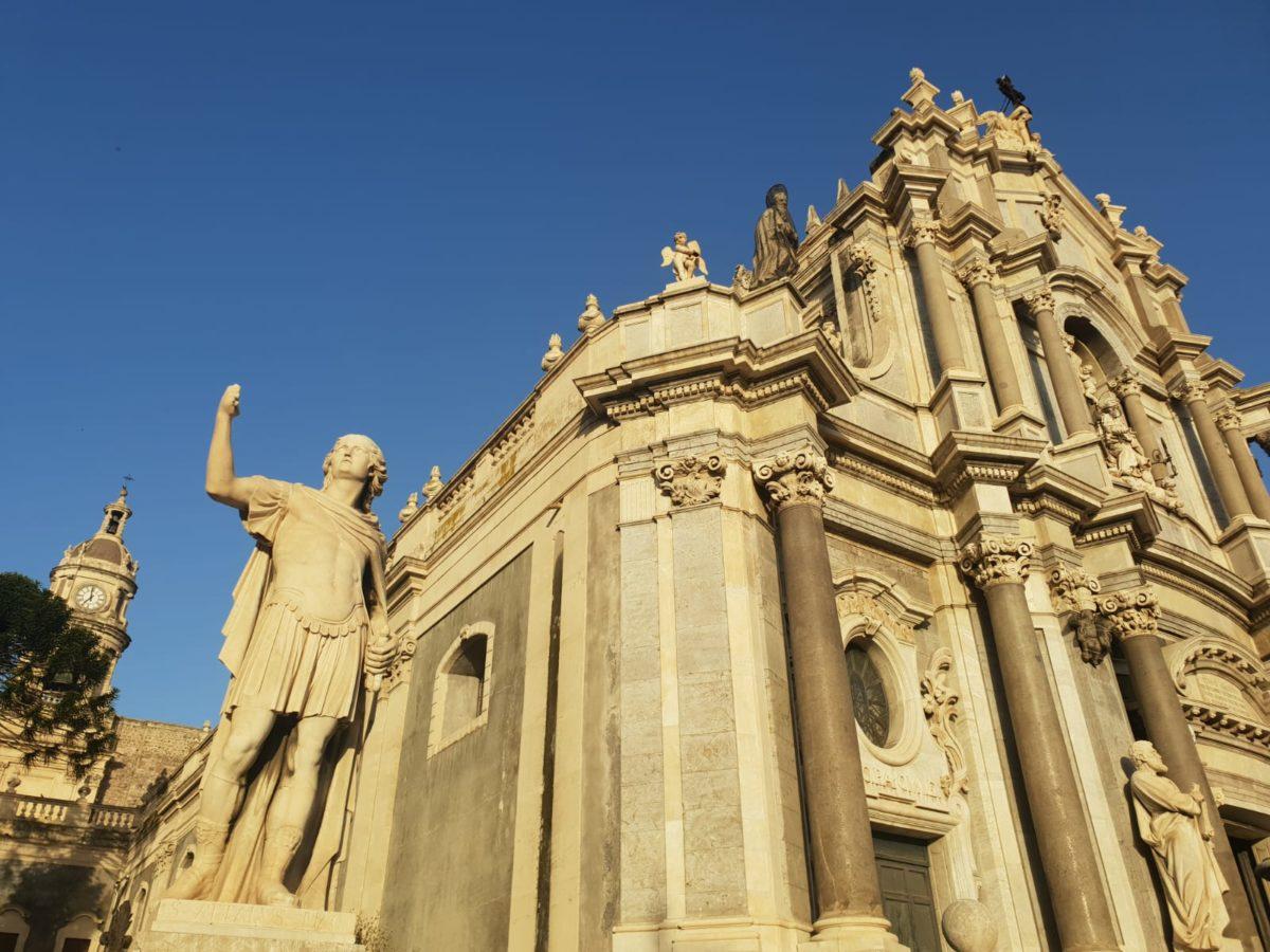 Catania Dettaglio cattedrale di Sant'Agata Piazza Duomo