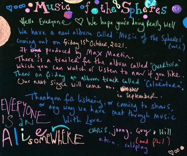 Coldplay nuovo album Music Of The Spheres