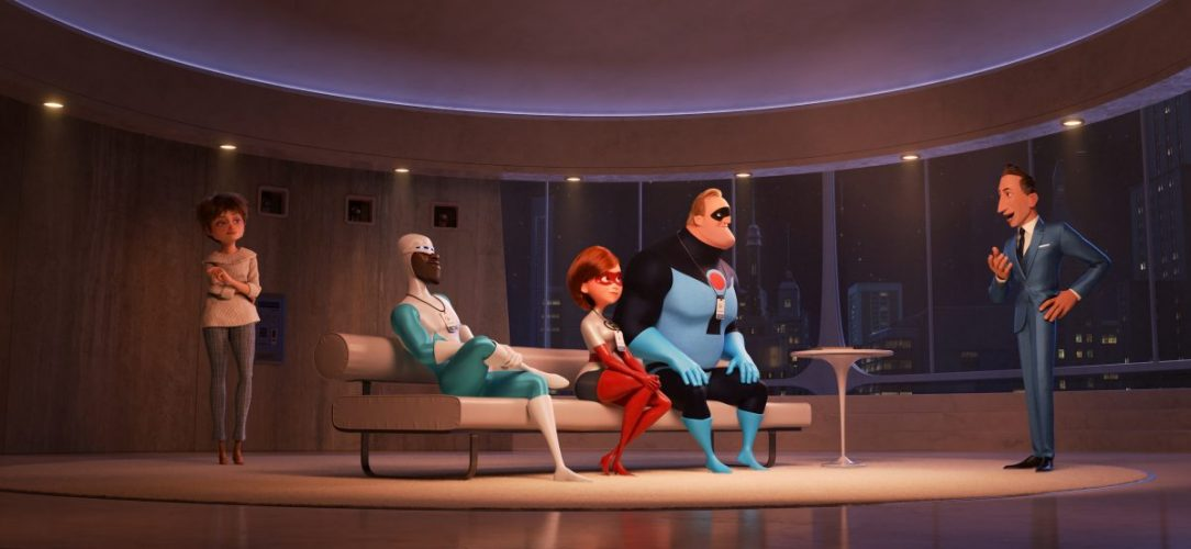 """SUPER FANS – In """"Incredibles 2,"""" savvy siblings and business partners Evelyn and Winston Deavor summon Frozone, Elastigirl and Mr. Incredible to share a plan designed to ultimately make Supers legal again. Featuring Catherine Keener as the voice of Evelyn, Samuel L. Jackson as the voice of Frozone, Holly Hunter as the voice of Elastigirl, Craig T. Nelson as the voice of Mr. Incredible and Bob Odenkirk as the voice of Winston, Disney•Pixar's """"Incredibles 2"""" busts into theaters on June 15, 2018. ©2018 Disney•Pixar. All Rights Reserved."""