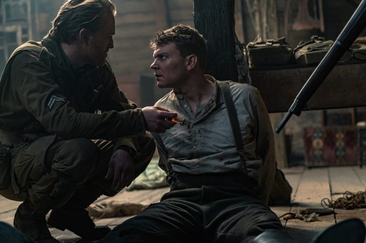 (L-R) Wyatt Russell as Ford and Pilou Asbaek as Wafner in the film, OVERLORD by Paramount Pictures