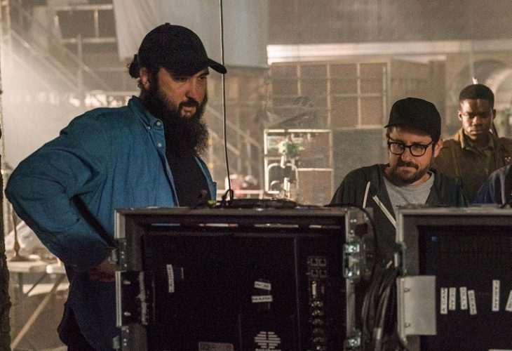 (L-R) Director Julius Avery, Producer J.J. Abrams, Jovan Adepo on the set, OVERLORD by Paramount Pictures