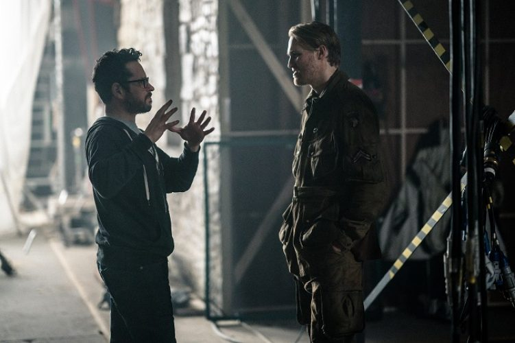 (L-R) Producer J.J. Abrams, Wyatt Russell on the set, OVERLORD by Paramount Pictures